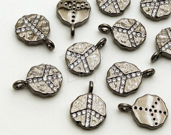 PD-1460-GM / 2 Pcs - CZ Peace Sign Circle Pendant (Large Size), Hammered Texture, Black Plated over Brass / 9mm x 12.5mm