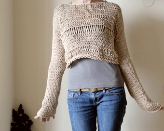 Beige Nude Cropped Sweater, Coachella Festival Sweater, Hand Knit Cotton Cropped Sweater, Extra Long Sleeves Sweater, Knit Cropped Pullover