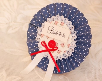 Polka Dot Hen Party Rosette - navy and red