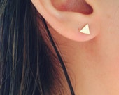 Gold Triangle Stud Earrings, Minimalist Everyday Earrings, Geometric Shape Earrings, Gift for Her, Gift Under 15, Tiny Gold Triangle