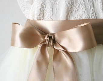 Tan Wedding Sash, Cafe Latte Sash, Double Faced Satin Ribbon Belt, 1.5 Inch Wide - Bridal Belt, Bridesmaid, Flower Girl Sash