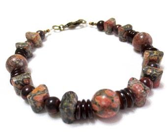 Rustic Bracelet, Mahogany Jasper, Brown Shell Heishi, Gray, Tan and Pink Leopard Jasper Beads, Medium Bracelet, 8.5 Inch, Stone and Shell