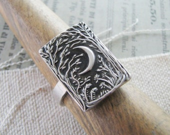 Moon Ring, Forest Moon Ring No. 2, Handmade with Recycled Silver, Original Design by SilverWishes
