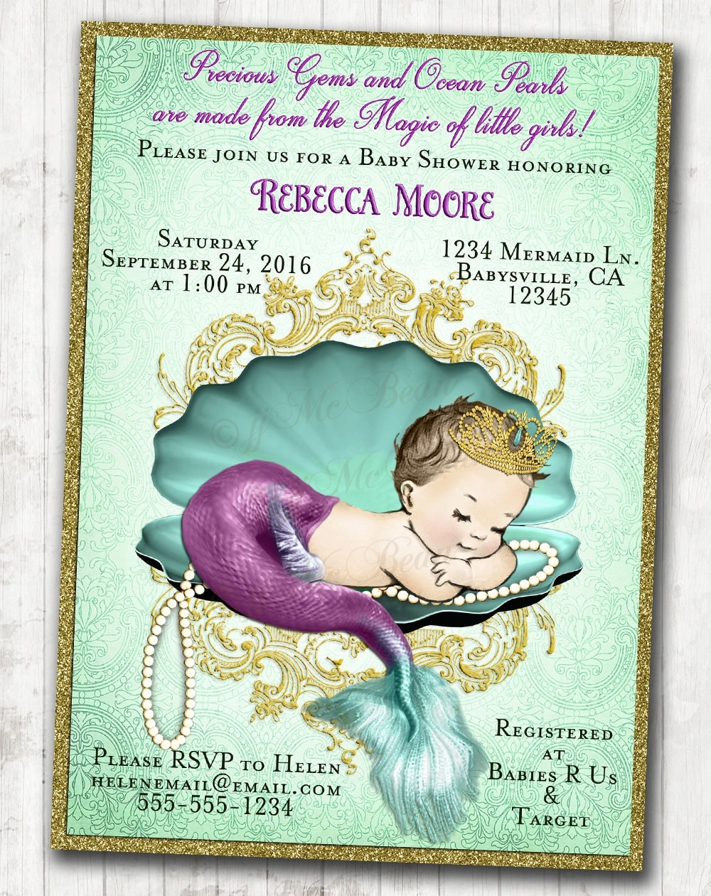 Genius image in printable mermaid baby shower invitations