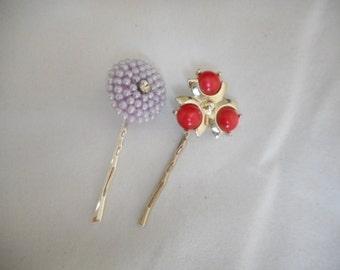 Repurposed  Vintage Jewelry Hair Accessories Bobby Pins