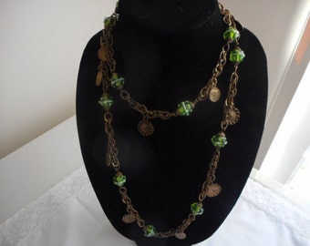 Vintage Green Gems Coin Charms Chain Necklace