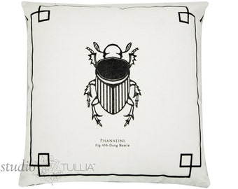Dung Beetle Pillow Cover - Silk Screen - Decorative Pillow Cover - The Bug Chicks Collection - ready to ship