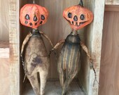 OOAK Special Listing Original Extreme Primitive Folk Art JOL Pumpkin Paper Clay Halloween