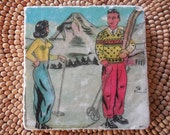 "Marble Natural Stone Coaster - ""Retro Ski Couple"" - Drink Tile - Vintage Ski - Ski Decor - Ski - Lodge - Alpine - Cabin"