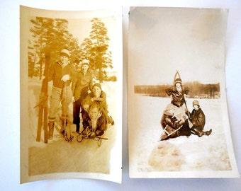 Original Vintage Ski Photos - Snapshot - Photograph - Collectible - Old Photo - Paper Ephemera