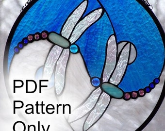 "PATTERN for Dragonfly Ying and Yang Stained Glass 14"" x 14"""""
