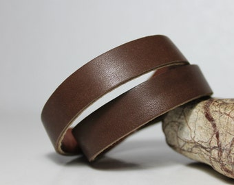 Leather Wrap  Bracelet, Brown Genuine Leather Double  Wrap