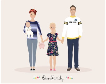 Custom Family Portrait, Fathers Day, Mothers Day