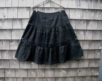 Romantic Black Crinkle Cotton & Lace Tiered Skirt for Repair