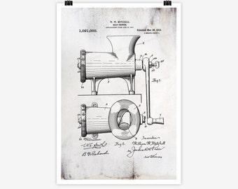 Patent Art Meat Chopper, 1911 - Large Patent Art Print Print Patent Art Print Wall Decor Vintage Art Patent Print Wall Hanging 03.