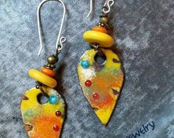 Fiery Hot Caribbean Calypso Drumbeat Earrings, enameled copper drops, resin, wood, brass, sterling silver