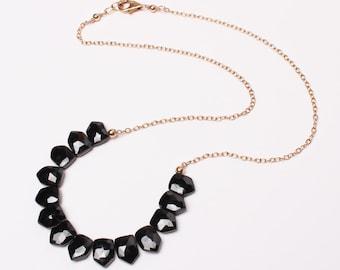 Black Spinel Front Drops Necklace on 14k Gold-Filled, Black and Gold, Faceted Gemstones, Lula Designs