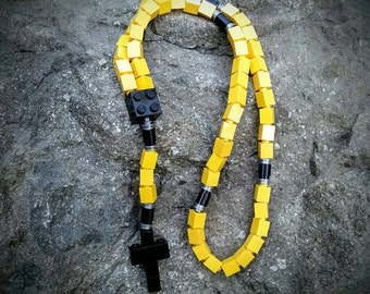Lego Rosary - The Original Catholic Lego Rosary - Yellow, Black and Gray First Holy Communion Gift