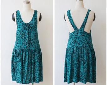 Free Shipping. 1990's Jumper Mini Dress Grunge Dress Race Back Teal Babydoll Pleated Button Front Dress Small Medium Drop Waist Dress Mini S
