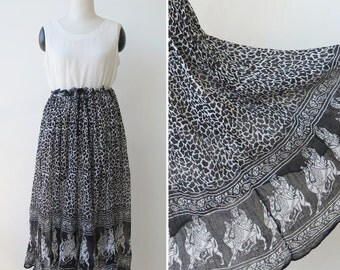 Vintage gauzy India boho skirt, black and white gauze hippie festival skirt
