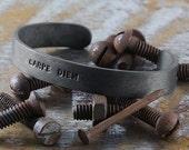 Black Silver Cuff Bracelet Mens Stamped Personalize Man Jewelry