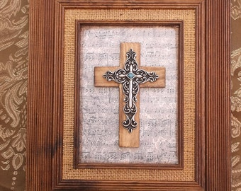 Wood cross assemblage, repurposed cross assemblage, wall cross