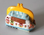Cute design kawai coin purse with yellow frame