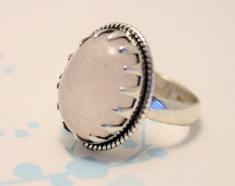 Rose quartz and sterling silver ring.  UK size L 1/2. US size 6