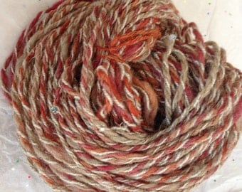 Handspun Yarn with Beads, Wool Blend, Red Rust Beige Variegated, 2.2 ounce, 40 yard skein Worsted Weight Novelty Yarn to Knit, Crochet.