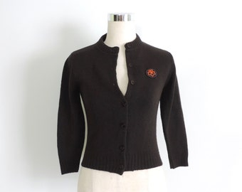 Girl Scout Cardigan Brownie Scout Sweater Brown