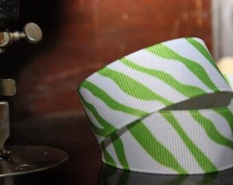 Green On White Zebra Grosgrain Ribbon 7/8'