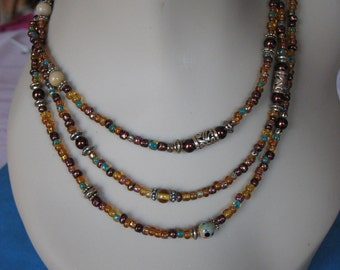Autumn Leaves Beaded Necklace Long and Lovely