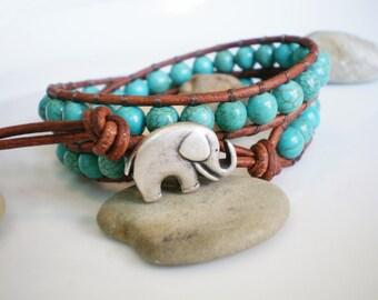 Turquoise Jewelry, Elephant Bracelet, Turquoise Bracelet, Elephant Charm, Leather Wrap Bracelet