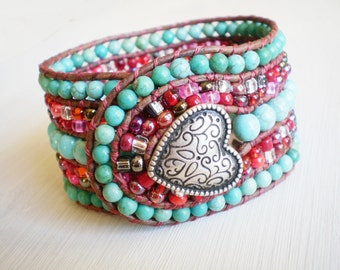 ON SALE Turquoise Boho Jewelry Cuff Leather Bracelet Red and Turquoise Beaded Bracelet