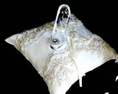 Fairy tale  Cinderella ring bearer pillow glass slipper .ring bearer  pillow