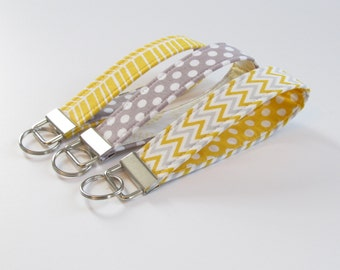 Gray and Yellow Fabric Keychain, Gray Yellow Key Fob, Wristlet keychain, key strap - PREORDER