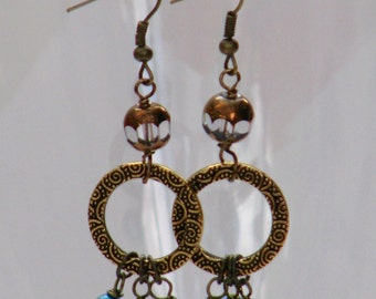 Deep Waters Earrings - pearl turquoise brass glass dangle unique artisan handcrafted