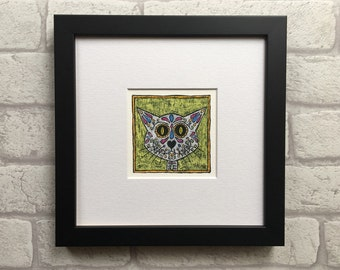 Sugarskull cat picture - Day of The Dead cat Giclée print - dia de los muertos drawing - sugar skull art