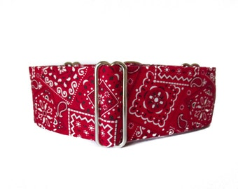 Red Martingale Collar, Bandana Martingale Collar, 2 inch Martingale Collar, Red Bandana, Red Dog Collar, Martingale Dog Collar