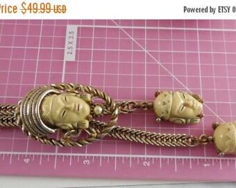 Sale 25% Off - Vintage Selro Selini Asian Princess Slide Necklace Cream Color Faces Snake Chain