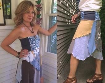 LOVE Sale Eco pixie Skirt/Tube Dress,S/M,eco clothing, patchwork skirt, asymmetrical skirt, fairy skirt, hippy skirt, festival dress ,muted