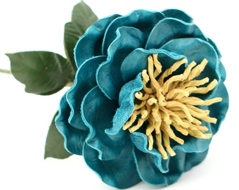 Leather Flower Teal Blue Third Wedding Long Stem Leather Flower Valentine's Day 3rd Leather Anniversary Mother's Day Anniversary Gift