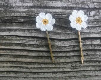 Flowers, daisy flowers, hair pin, bridal hair pin, hair accesories, small hair pin, hair jewellery, white yellow flowers
