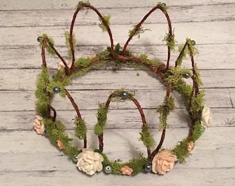 Woodland crown , Moss Crown , Floral Crown , Tiara