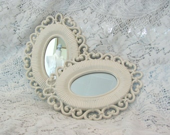 Vintage Oval Mirrors, Pair of Cream Vintage Wall Mirrors
