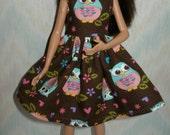 "Handmade 10.5"" teen fashion doll clothes - brown, pink and aqua owl dress"
