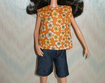 """Handmade 11.5"""" fashion doll clothes - orange and white floral print top and navy denim shorts"""