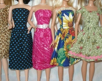 """Handmade 11.5"""" fashion doll clothes - mixed lot of 5 fall dresses"""