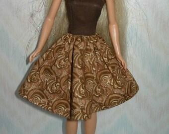 "Handmade 11.5"" fashion doll clothes - brown cotton dress"