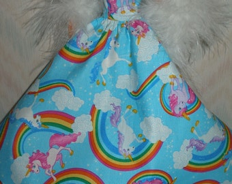 Handmade Barbie clothes - blue unicorns and rainbows gown with  boa